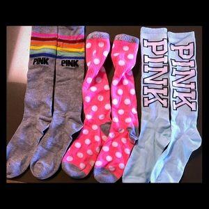 Victoria's Secret PINK Knee Socks (3) - Brand New
